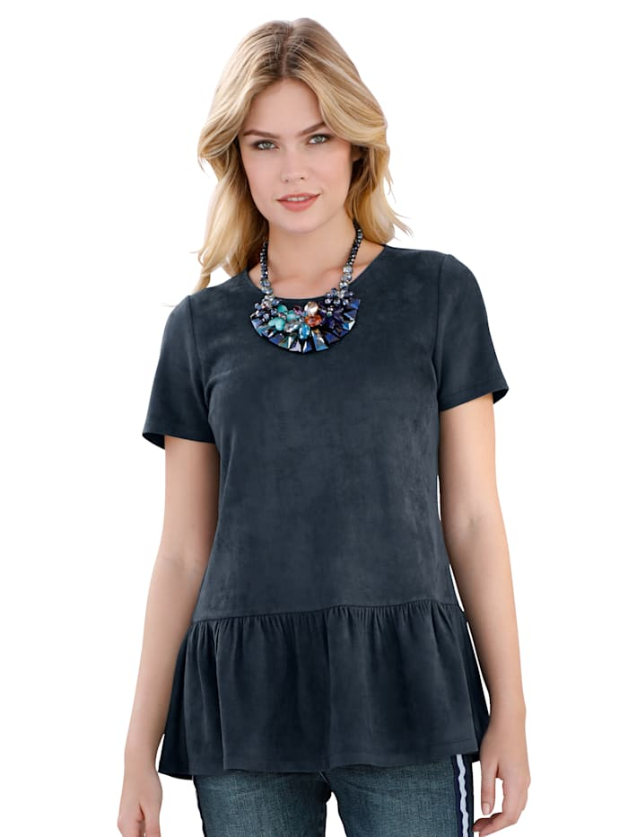 AMY VERMONT Shirt aus Velourslederimitat, Marineblau