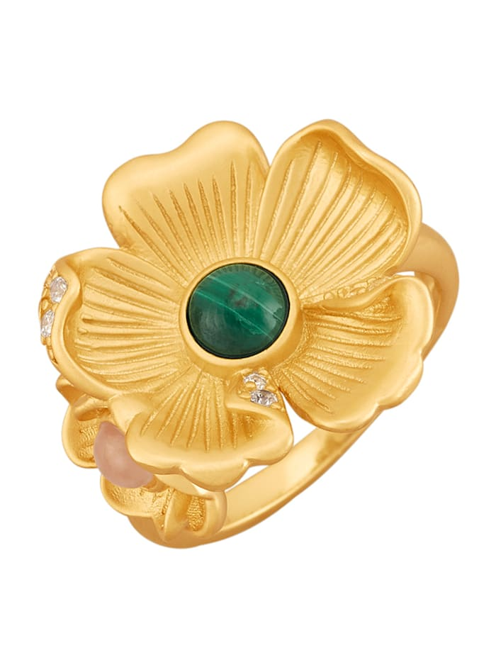 Diemer Trend Blüten-Ring in Silber 925, Grün