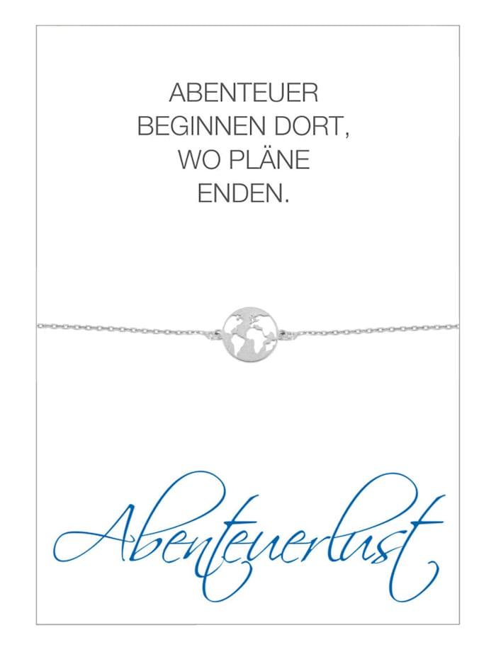 HERZ-KARTE Armband Wereldbol, Zilverkleur