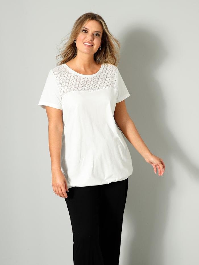 Janet & Joyce Shirt mit Spitzen-Einsatz, Off-white
