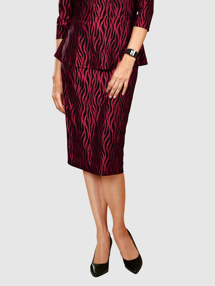 Paola Jupe à imprimé mode, Rouge/Noir