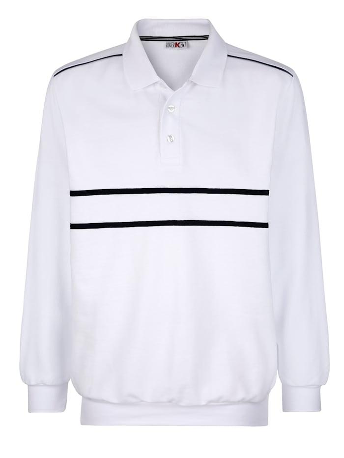 Roger Kent Sweatshirt mit Kontrastverarbeitung, Weiß