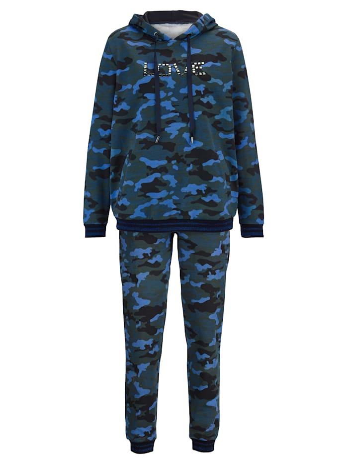 Simone Freizeitanzug im Camouflage-Look, grün/azur/navy
