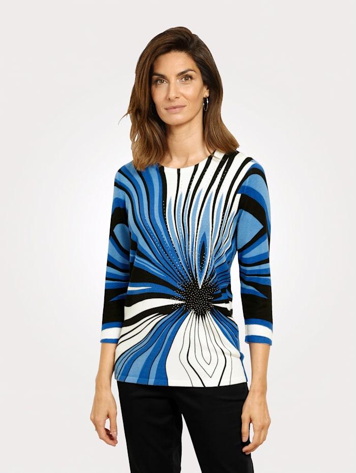 MONA Pullover mit platziertem Druckdessin, Royalblau/Schwarz/Weiß