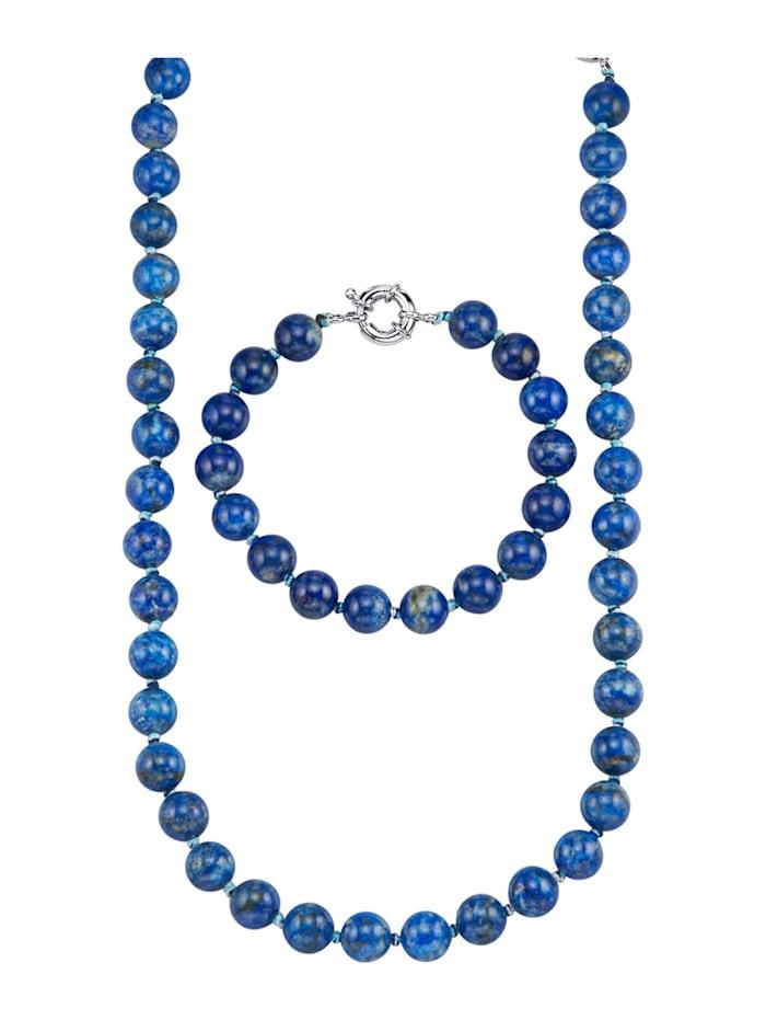 Parure de bijoux 2 pièces en lapis-lazuli, Bleu