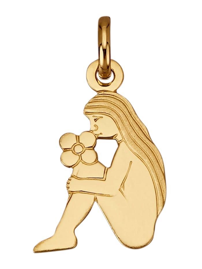 """Amara Or Pendentif avec signe du zodiaque """"Vierge"""" en or jaune 750, Coloris or jaune"""