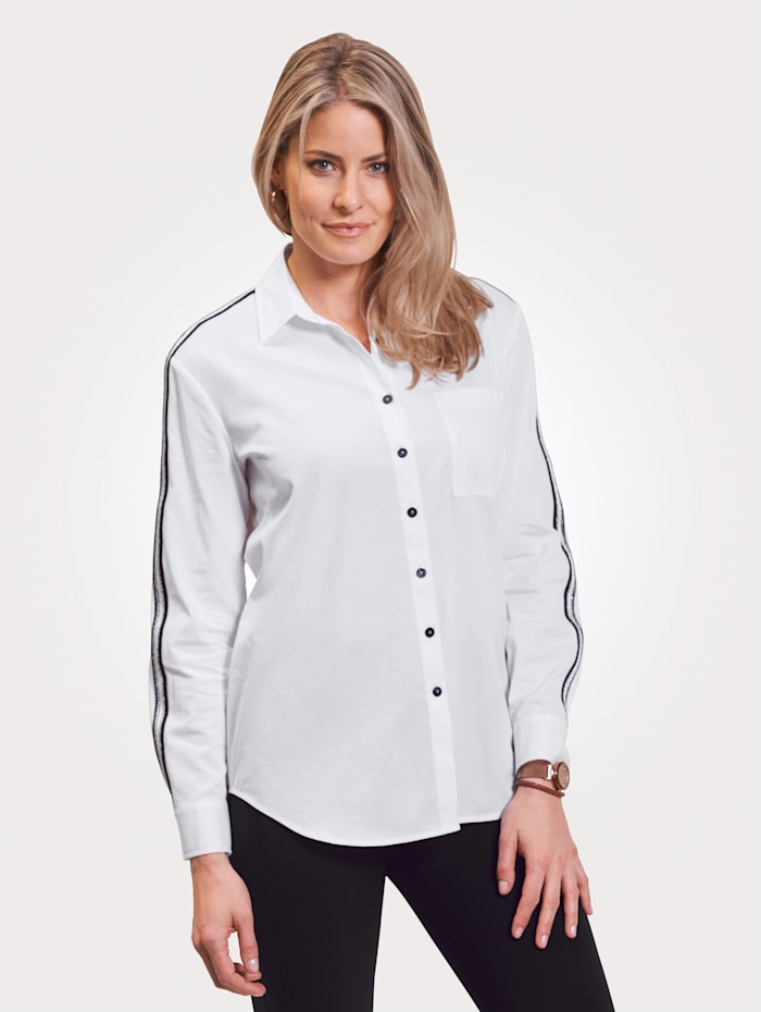 Just White Blouse in casual model, Wit/Zwart