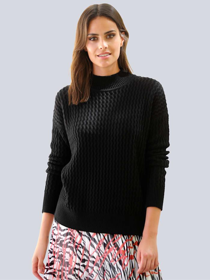 Alba Moda Pullover in schönem Strukturstrick, Schwarz