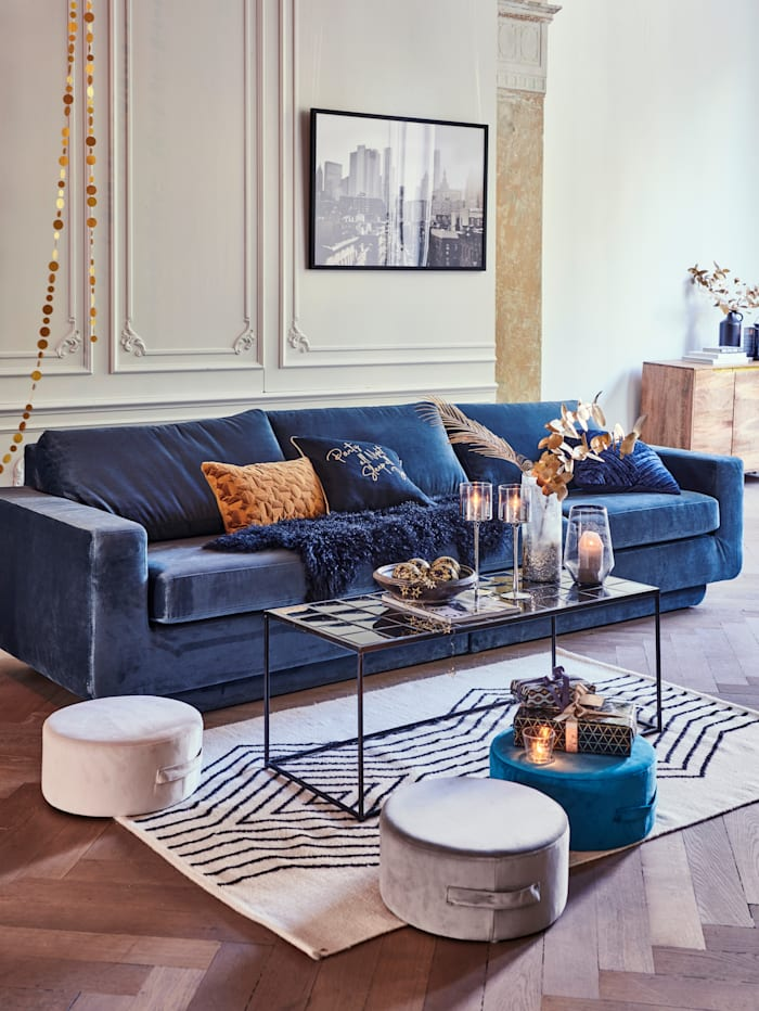 IMPRESSIONEN living Hocker-Set, 3-tlg., creme/grau/blau