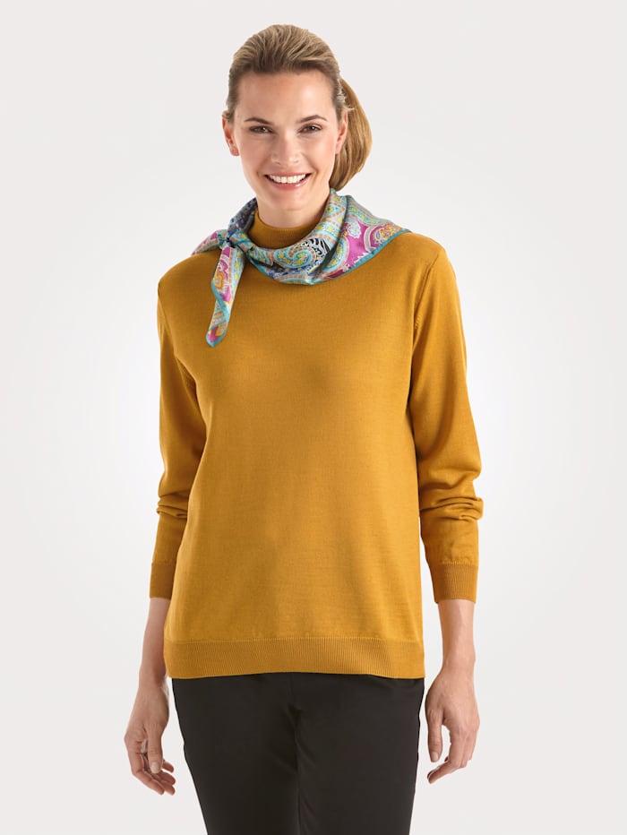 MONA Stehbund-Pullover mit Merino-Schurwolle, Maisgelb