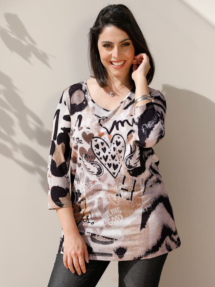 MIAMODA Shirt mit Herzchenmotiven, Beige/Schwarz