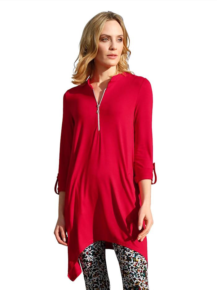 AMY VERMONT Shirt met rits aan de hals, Rood