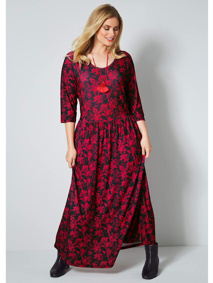 Sara Lindholm Maxi-jurk met bloemendessin, Rood/Zwart