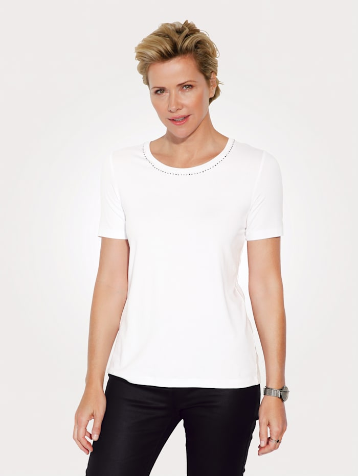 MONA Shirt met decoratieve strassteentjes aan de hals, Wit