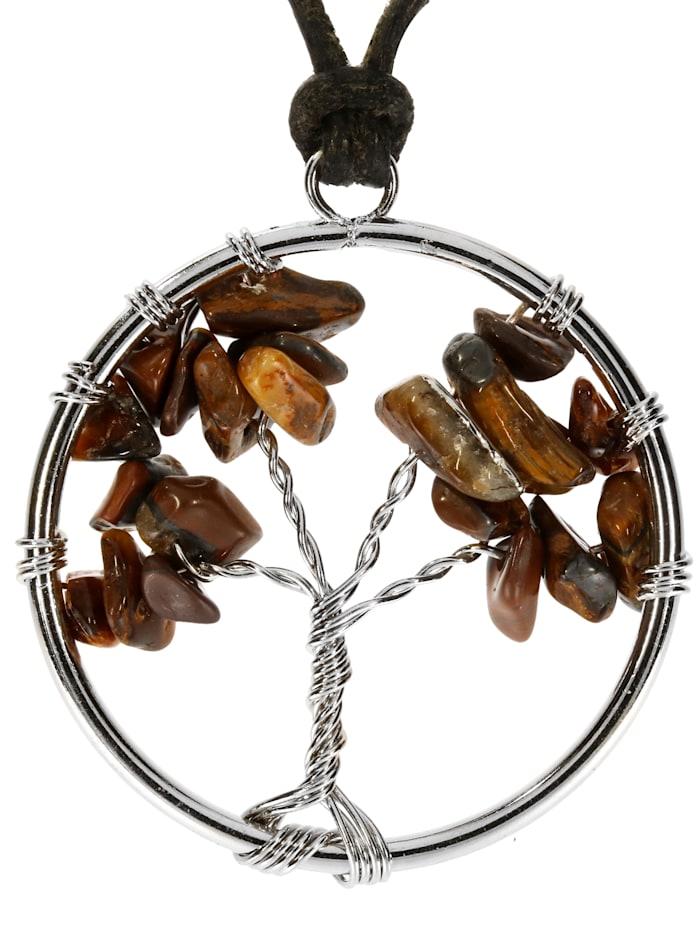 1001 Diamonds Damen Schmuck Edelstein Tigerauge Anhänger bunt Baum des Lebens, bunt