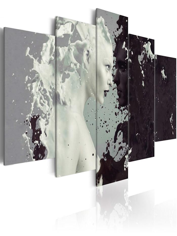 artgeist Wandbild Black or white? - 5 pieces, schwarz-weiß,Grün