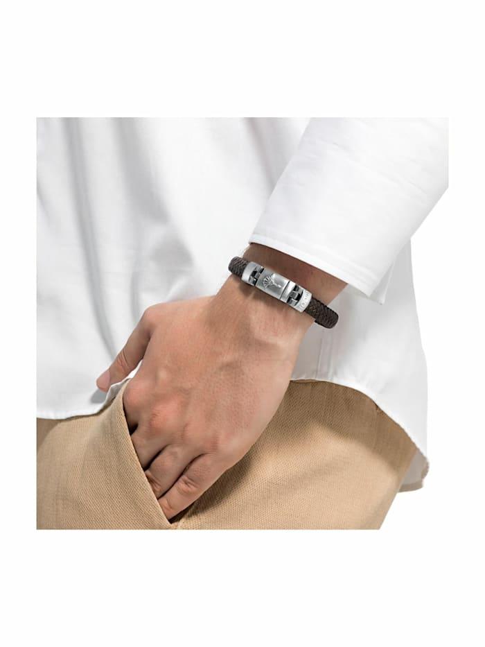 Armband für Herren, Edelstahl und Leder