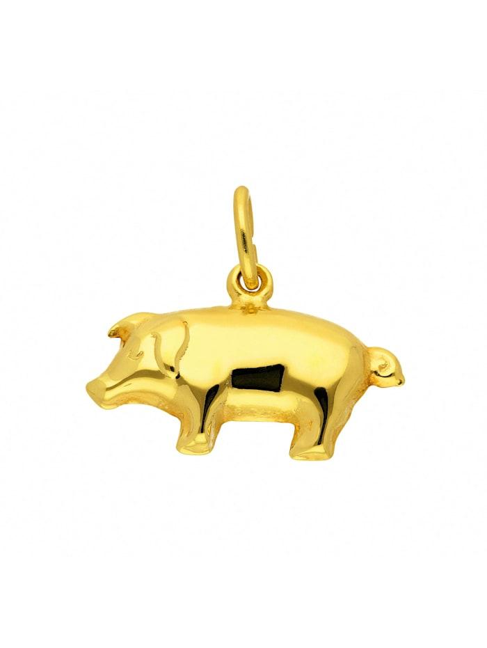 1001 Diamonds Damen Goldschmuck 333 Gold Anhänger Schwein, gold