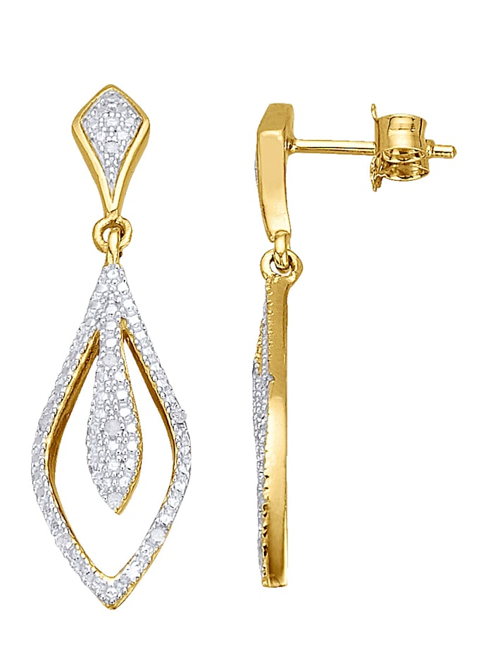 Boucles d'oreilles à diamants, Coloris or jaune