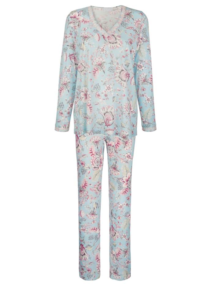 MONA Pyjama à jolis détails en dentelle, Bleu ciel/Écru/Bois de rose
