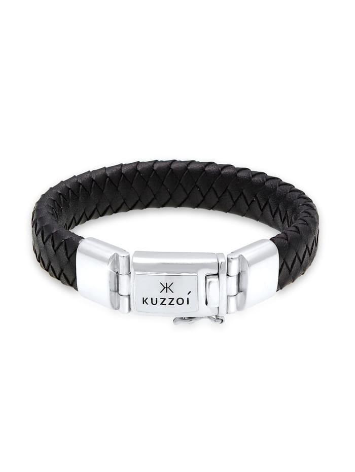 Kuzzoi Armband Herren Lederarmband Kastenverschluss 925Er Silber, Silber