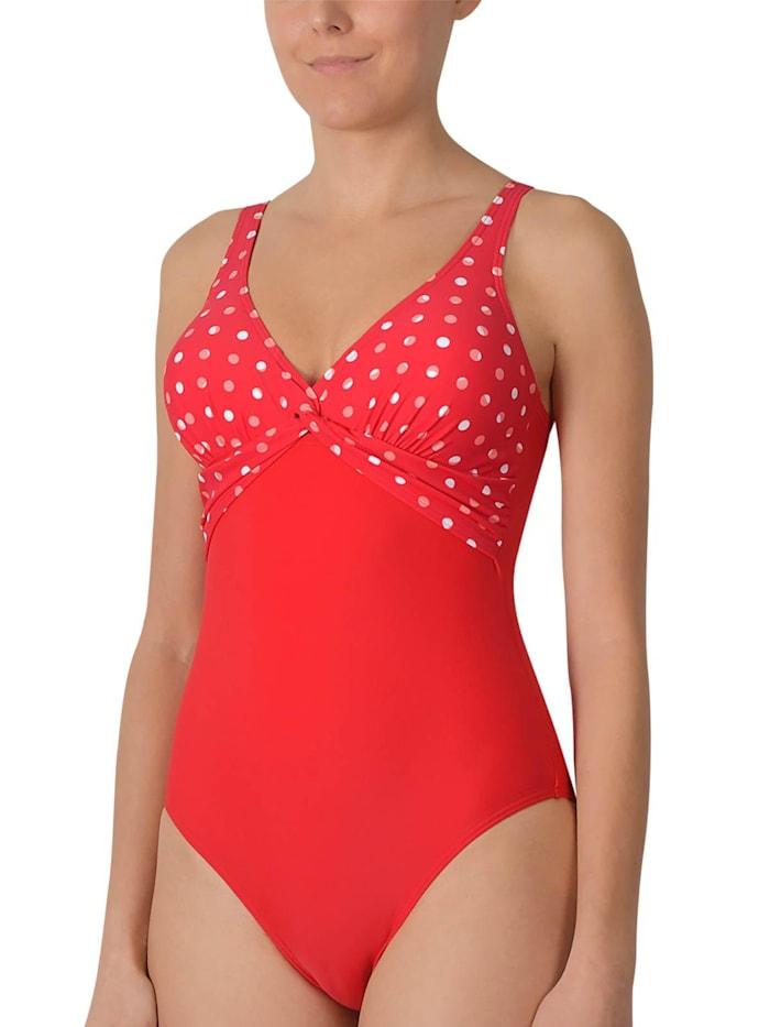 Naturana Damen Badeanzug mit Schaleneinlage, rot-melone-weiß