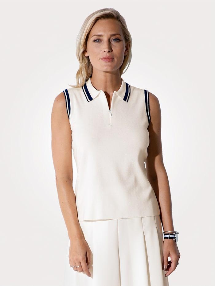 MONA Pullover mit Polokragen, Ecru/Marineblau