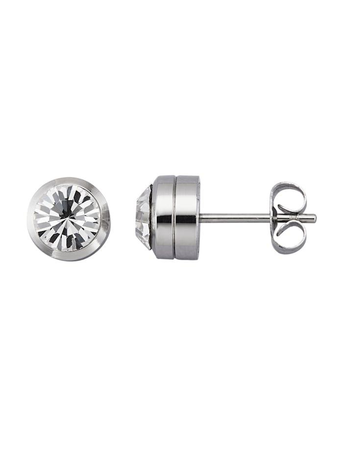 Magnetic Balance Örhängen i rostfritt stål med magnet, Vit