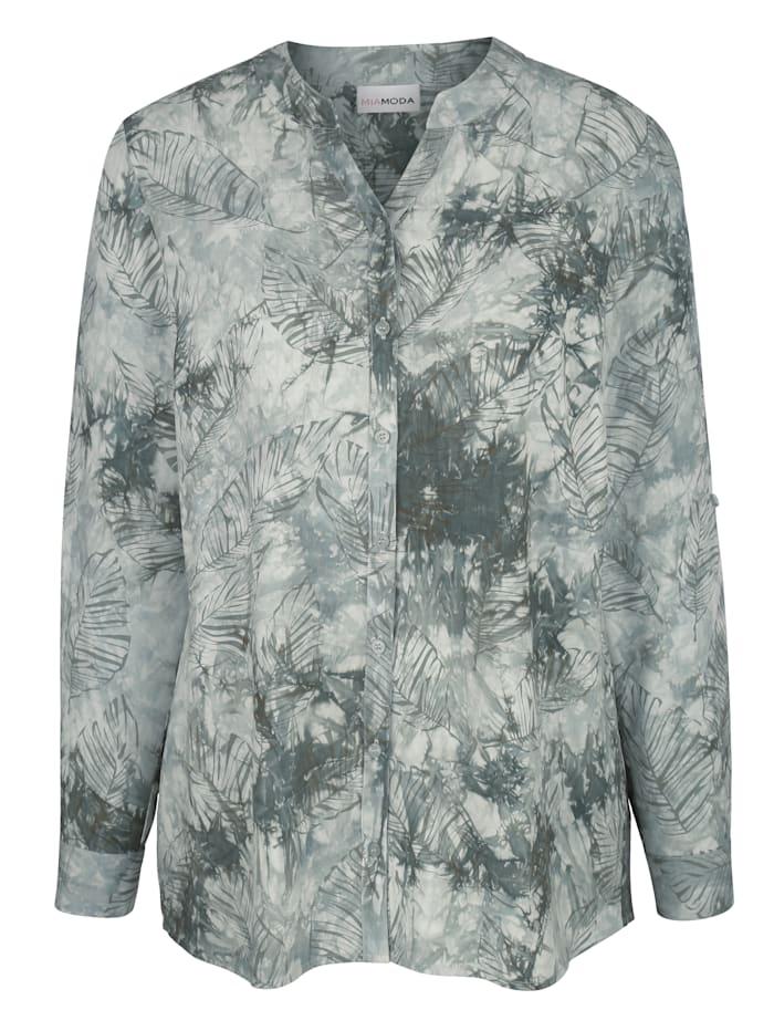 MIAMODA Bluse mit Batik- und Blätterdruck, Khaki