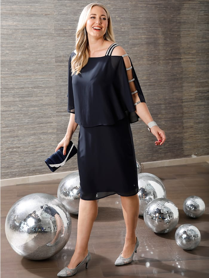 MIAMODA Kleid mit Glitzer und Cutoutdetails am Arm, Marineblau