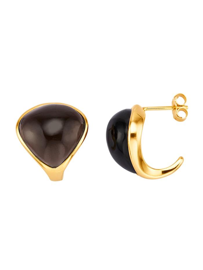 Boucles d'oreilles avec quartz fumé, Marron