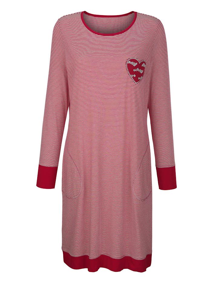 Simone Nachthemd mit herzförmigen Ellbogen-Patches, ecru/bordeaux