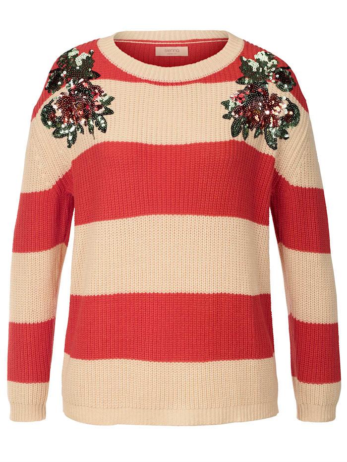 SIENNA Pullover, Rot/Beige