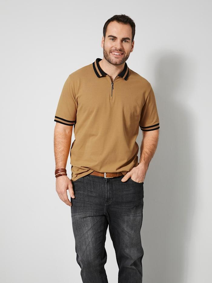 Men Plus Poloshirt aus reiner Baumwolle, Sand/Schwarz