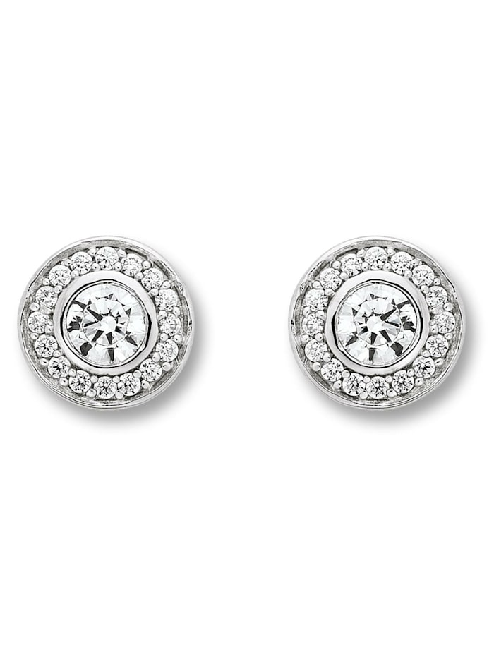 One Element Damen Schmuck Ohrringe / Ohrstecker aus 925 Silber Zirkonia, silber
