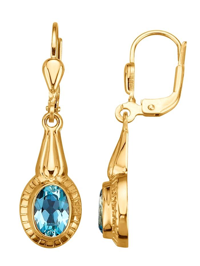 Ohrringe mit Blautopasen, Blau