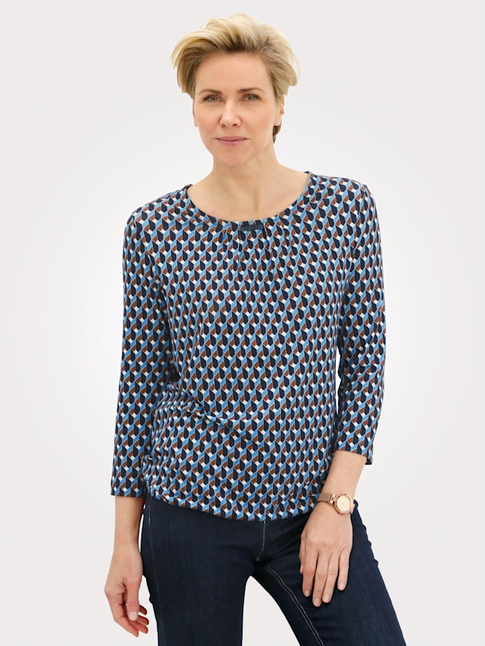 Rabe T-shirt avec bande reps décorative, Bleu/Blanc/Marron