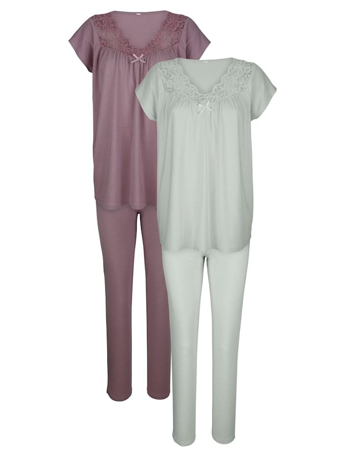 Harmony Pyjamas par lot de 2 à empiècement en dentelle, Bois de rose/Jade