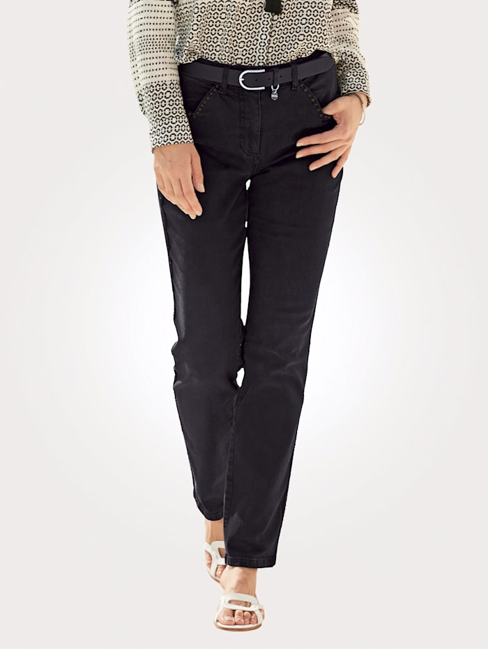 MONA Jeans with rhinestone detailing, Black