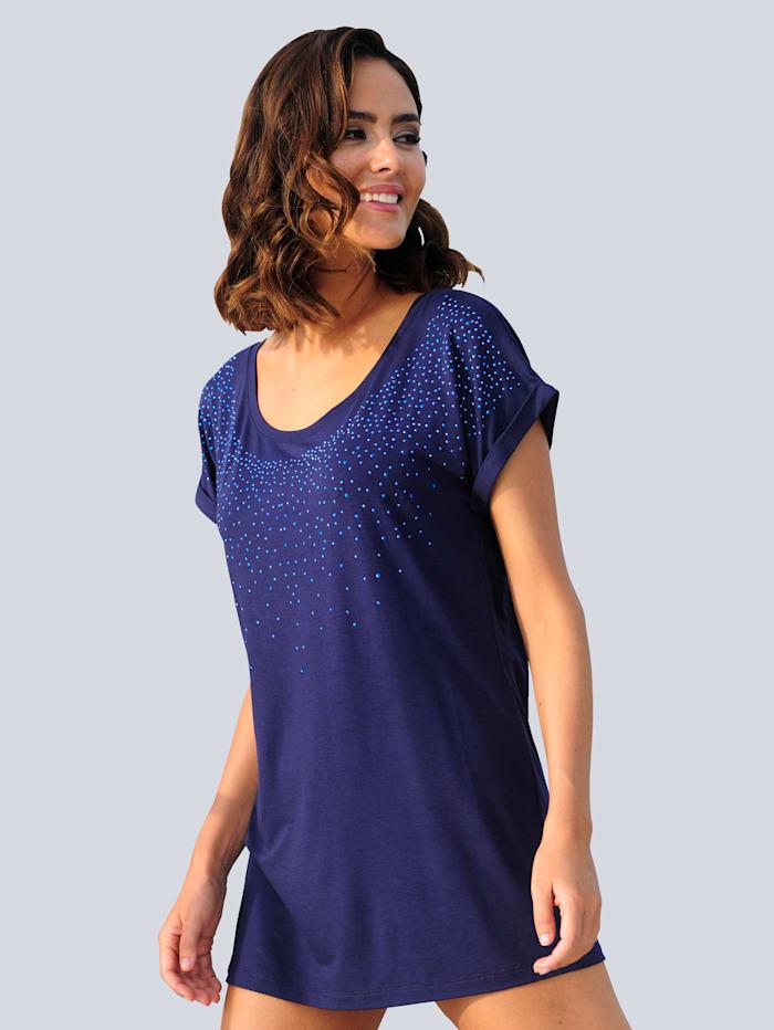 Alba Moda Strandshirt mit Glitzersteinen, Marineblau