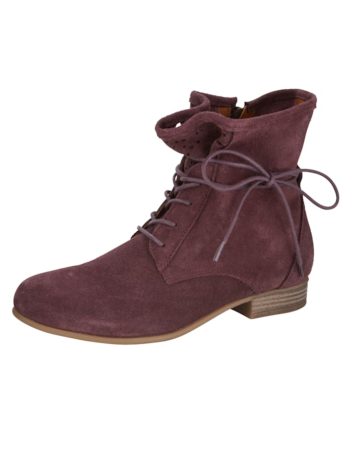 Lace-up Boots in a pretty perforated design, Berry