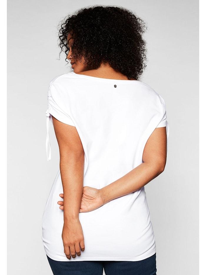 Sheego Shirt mit Frontdruck und Glitzersteinen