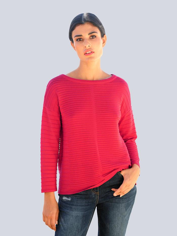 Alba Moda Pullover in modischem Struktur-Strick, Rot