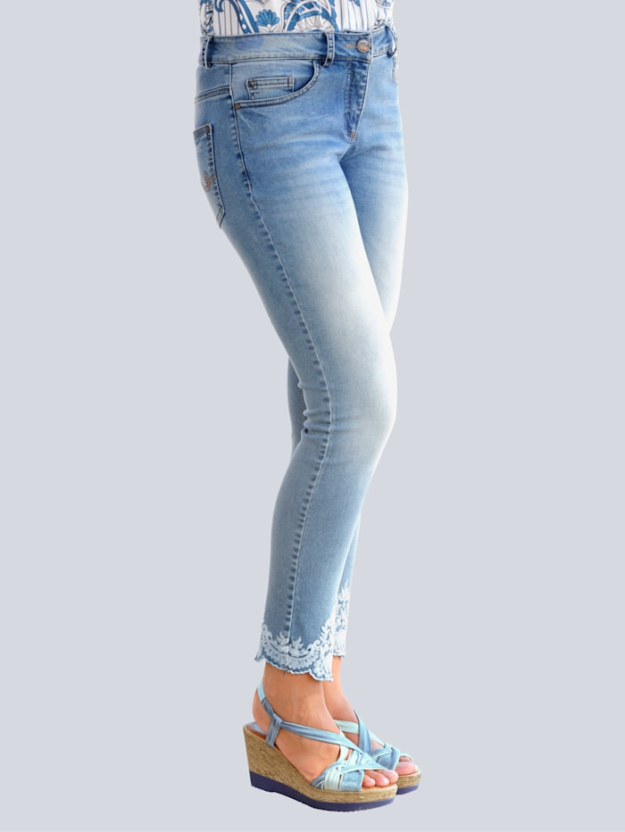 Alba Moda Jeans mit Ornamentstickerei, Blau