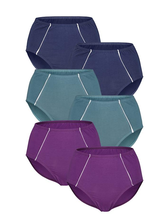 Harmony Tailleslips 6 stuks, 2 x marine, 2 x petrol, 2 x violet