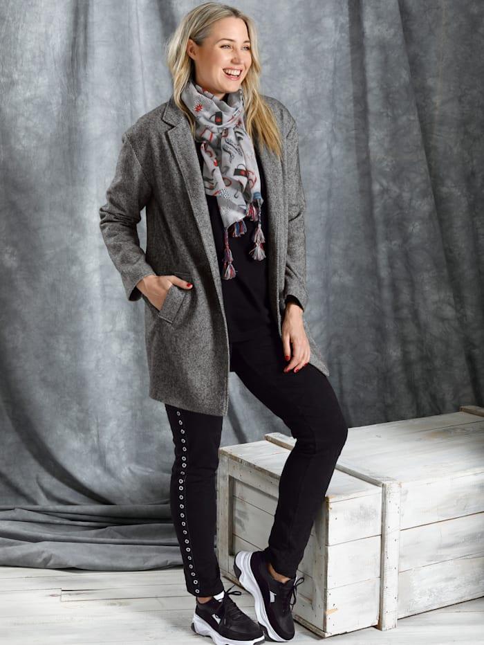 MIAMODA Mantel mit Streifenmuster, Grau