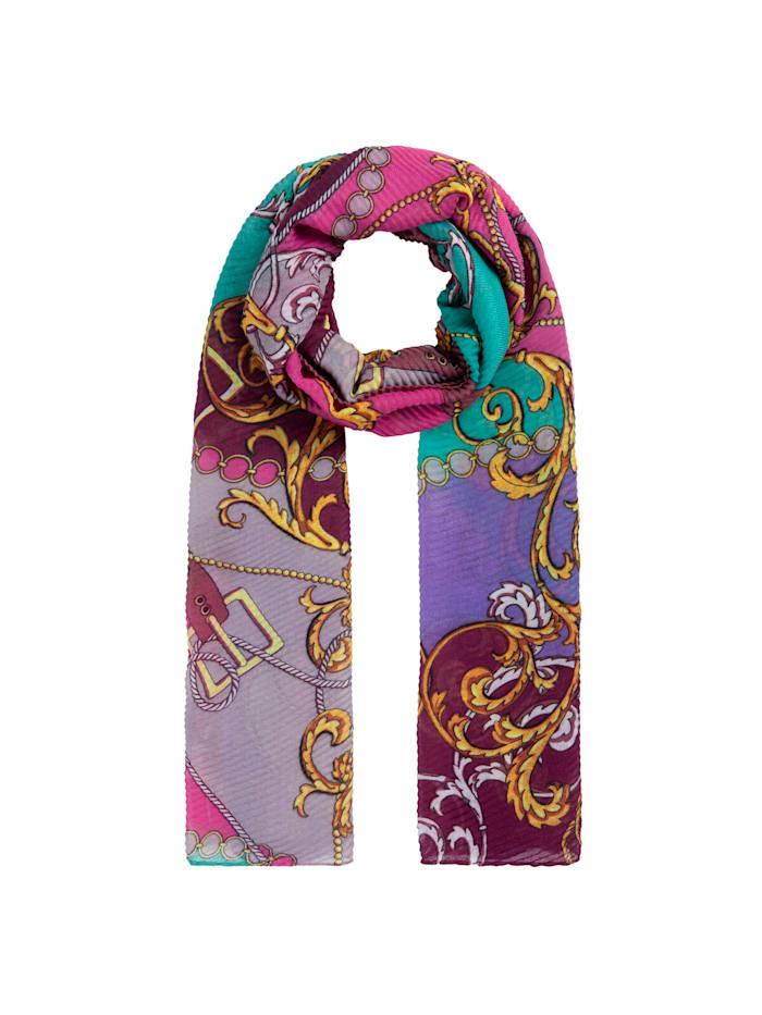 Codello Plissee-Schal mit Foulard-Muster aus recyceltem Polyester, dark violet