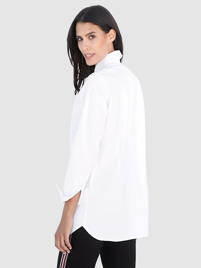 Longline Blouse with a concealed button placket