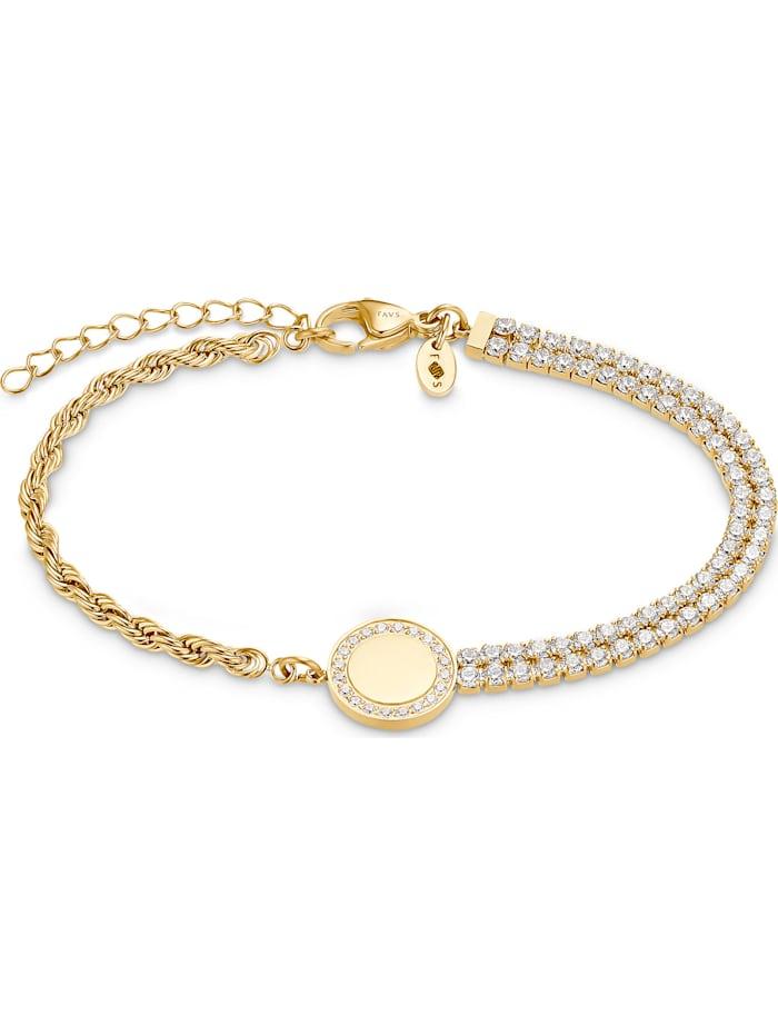 FAVS. FAVS Damen-Armband Edelstahl 82 Zirkonia, gold