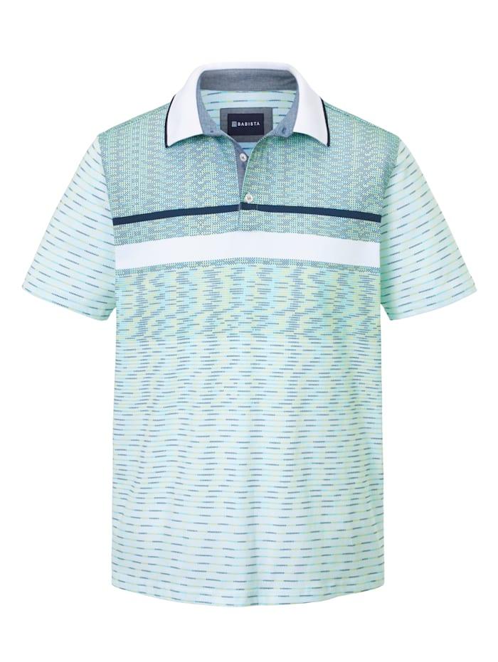 BABISTA Poloshirt met print rondom, Wit/Lindegroen